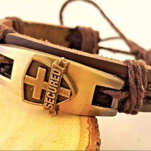 Jewelry - Christian Leather Bracelet Wristband Cross